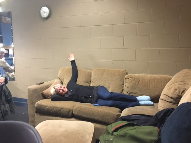 Julie relaxing backstage