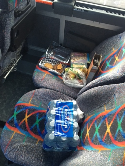 Snack area on the bus