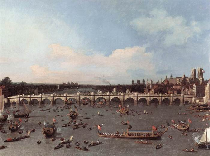 Canaletto, 1697–1768. Westminster Bridge, With the Lord Mayor's Procession On the Thames. 1747.