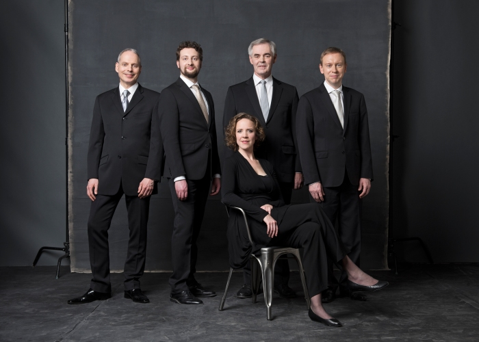Tafelmusik Chamber Choir members, 2016/17. L-R: Paul Oros and Joel Allison, bass; Peter Mahon, alto; Daniel Webb, tenor; Meghan Moore, soprano.