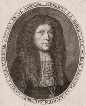 Engraving of Biber by Paulus Seel, from the 1681 publication of Biber's Violin Sonatas.