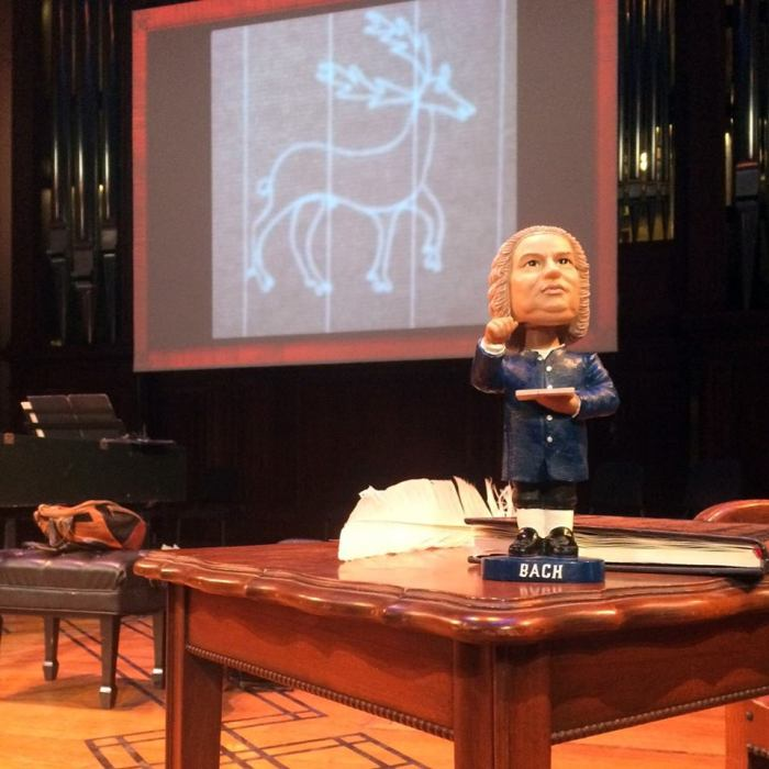 Bobblehead Bach on stage in Finney Chapel, Oberlin, OH. Photo: Pat Jordan
