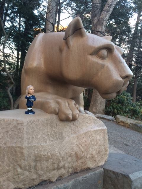 Bobblehead Bach with the Nittany Lion, Penn States official mascot. Photo: Pat Jordan
