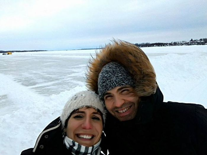 Stefano and his wife Isabella walking on a frozen lake for the first. Ontario Tour 2016.