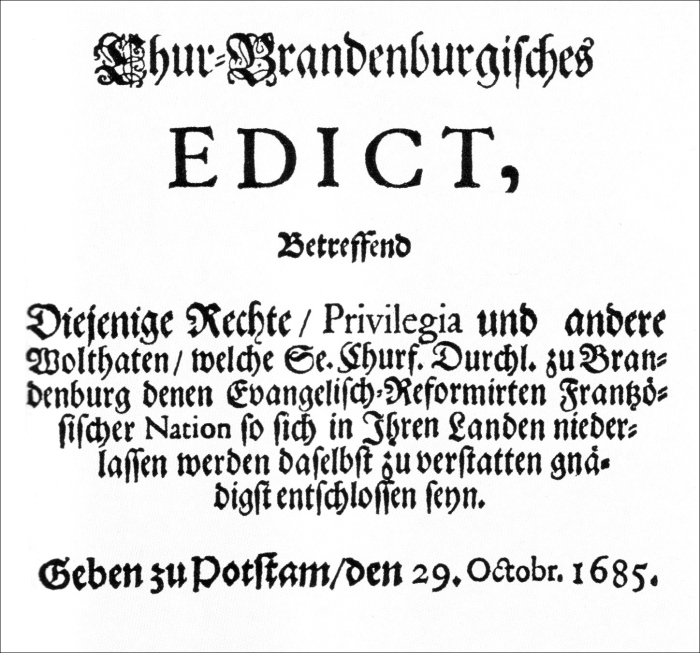 Edict of Potsdam: the invitation issued to French Huguenot refugees to relocate in Brandenburg-Prussia.