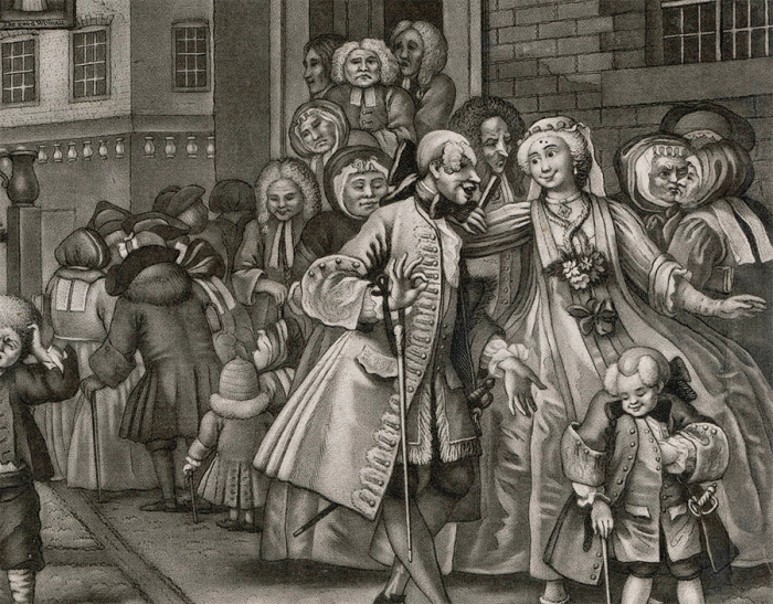 William Hogarth's depiction of Huguenots leaving the French church in Hog Lane, London in 1738. (Chronicle/Alamy Stock Photo)