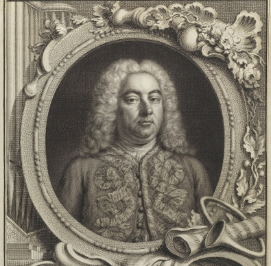 Engraved portrait of Handel by Jacobus Hoebraken, with frame and cartouche engraved by Gravelot, 1738, for the first edition of the score of Alexander's Feast.