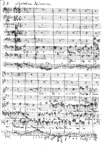"Bach's manuscript score of the Credo, described by Nägeli as ""truly the most amazing piece of music in existence […] the awakening of the powers of faith through the wondrous force of music."""