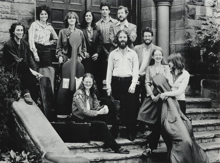 The orchestra on the steps of Trinity-St. Paul's in 1981