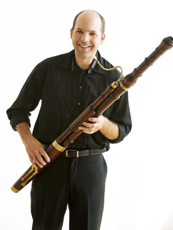 Dominic Teresi with his bassoon. Photo by Sian Richards.
